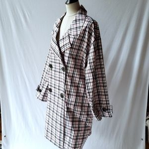 Opening Ceremony Oversized Plaid Trench Coat L NWT